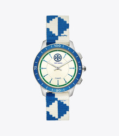COLLINS HYBRID SMARTWATCH, BLUE/IVORY/NAVY/STAINLE