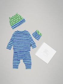 Striped Cotton Four-piece Baby Gift Set in Teal