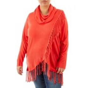 NY COLLECTION Plus Size Asymmetrical Fringe Cowl N
