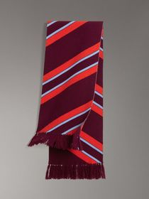 Tri-tone Striped Wool Cashmere Scarf in Burgundy