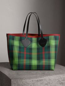 The Giant Reversible Tote in Tartan and Leather in