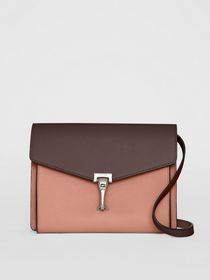 Two-tone Leather Crossbody Bag in Dusty Rose/deep