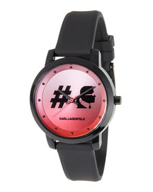 Karl Lagerfeld 37mm Camille Silicone Watch Pink/Bl