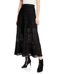 Max Studio Tiered A-line Pleated Maxi Skirt