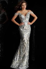 Jovani - Sequined Plunging Off Shoulder Long Gown
