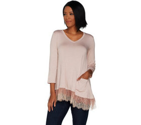 LOGO by Lori Goldstein Solid Knit Top with Tiered