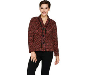Bob Mackie Button Front Printed Fleece Jacket with