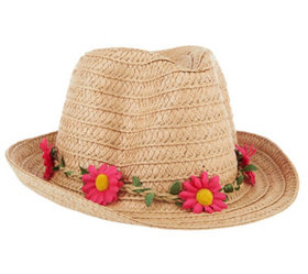 """""""As Is"""" Tashon Straw Fedora with Removable Flower"""