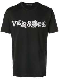 Versace logo embroidered T-shirt