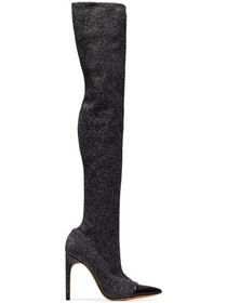 Givenchy Black Contrasted 115 Lurex Thigh Boots