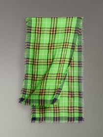 Lightweight Check Wool Silk Scarf in Apple Green