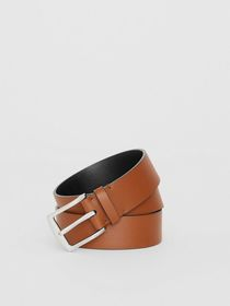 Embossed Crest Leather Belt in Chestnut Brown