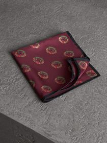 Archive Logo Print Silk Pocket Square in Burgundy
