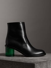 Two-tone Leather Block-heel Boots in Black