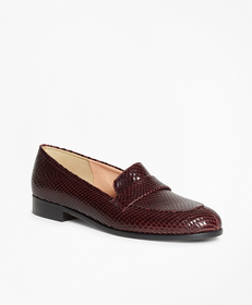 Reptile-Embossed Leather Loafers