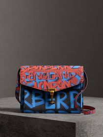 Small Graffiti Print Leather Crossbody Bag in Blac