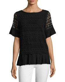 Grey State Grey State Sara Lace Overlay Top~141180