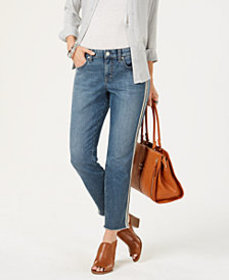 Style & Co Double Stripe Raw-Hem Jeans, Created fo