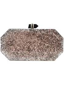 Marchesa marbeled box clutch bag