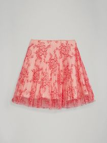 Pleated Lace Skirt in Pale Apricot/coral