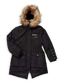 DKNY Girl's Faux-Fur Hooded Anorak BLACK NATURAL