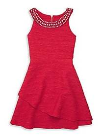 Lavender Girl's Jeweled Fit-&-Flare Dress RED