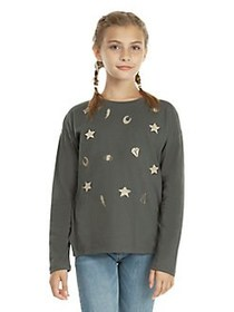 Dex Girl's Embroidered Long-Sleeve Tee DARKGREY