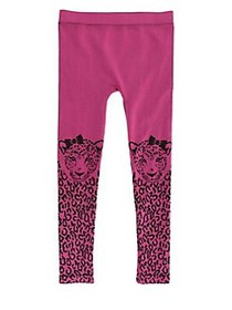 Capelli New York Girl's Ribbed Leopard Printed Tig