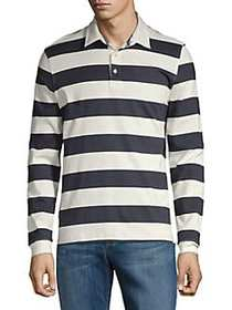 Black Brown 1826 Striped Rugby Shirt AUTUMN NAVY