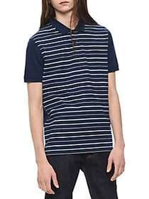 Calvin Klein Paneled-Stripe Polo ATLANTIS