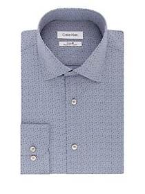 Calvin Klein Regular-Fit Printed Dress Shirt NAVY