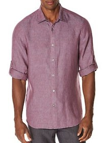 Perry Ellis Textured Rolled-Sleeve Linen Shirt DEL