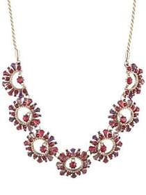 Marchesa Adjustable Stone Disc Collar Necklace RED