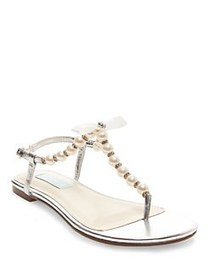 Betsey Johnson Pearl T-Strap Sandals SILVER