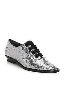 Marc Jacobs Brittany Glitter Oxfords ANTIQUE SILVE