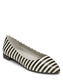 Aerosoles Hey Girl Almond Toe Flats BLACK WHITE