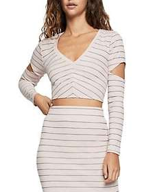 BCBGeneration Pinstripe Cut-Out Cropped Top ROSE