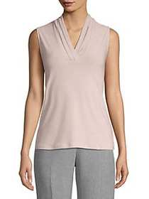 Anne Klein Solid Triple Pleat Top BALLET