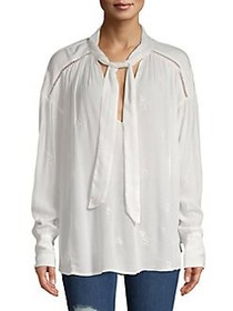 Free People Embroidered Bohemian Tie-Neck Blouse I