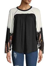 Free People Gathered Three-Quarter Sleeve Top BLAC