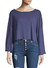 Free People Scalloped Cropped Cotton Top BLUE