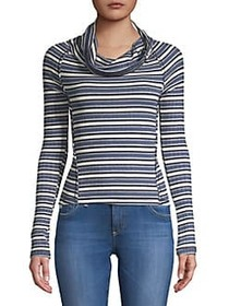 Free People Striped Long Sleeve Top BLUE