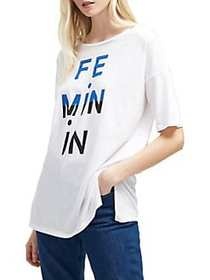 French Connection Oversize Graphic Tee WHITE