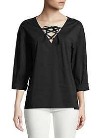 Highline Collective Lace-Up Top BLACK