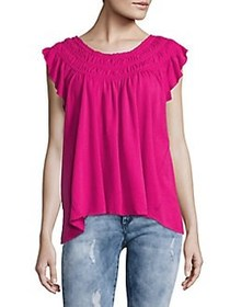 Free People Ruched Gathered Top PINK