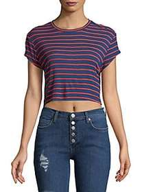 Splendid Striped Cropped Tee MIDNIGHT