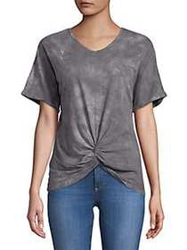 C&C California Knotted Front-Tie Tops GREY