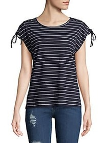 C&C California Lace-Up Striped Top NAVY