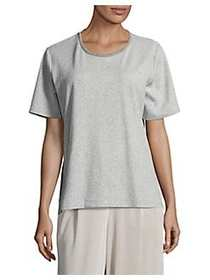 Joan Vass Short Sleeve Pajama Top CLOUD HEAT