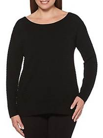 Rafaella Rib Knit Crewneck Sweater BLACK